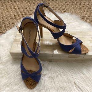 Alexandre Birman Blue Denim Canvas Cork Sandal 9